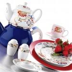 kütahya porselen kırmızı kahvaltı takımı