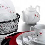 kütahya porselen kırmızı tomurcuklu kahvaltı takımı