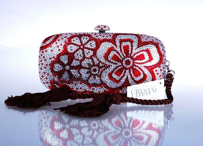 kırmızı beyaz taşlı gece çantası