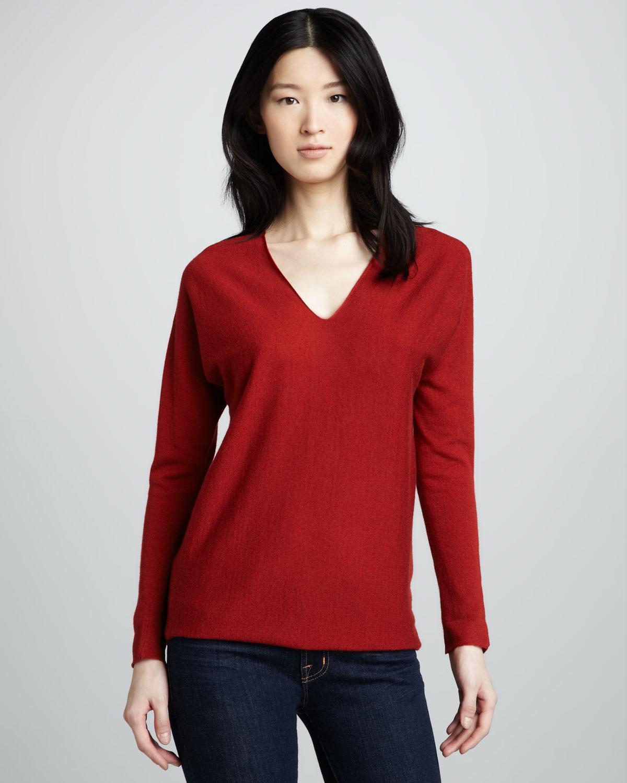 kırmızı sade kazak modeli