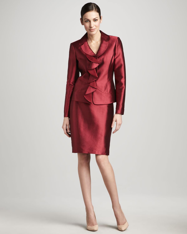kırmızı saten etek ceket modeli