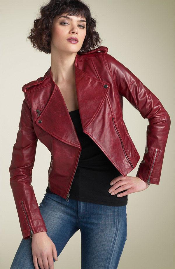 kırmzı deri ceket modeli