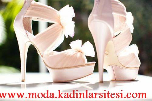 krem bantlı ayakkabı modeli
