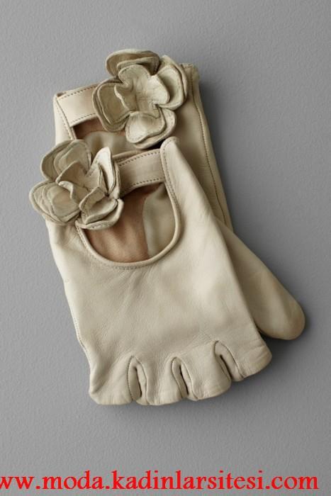 krem parmaksız eldiven modeli