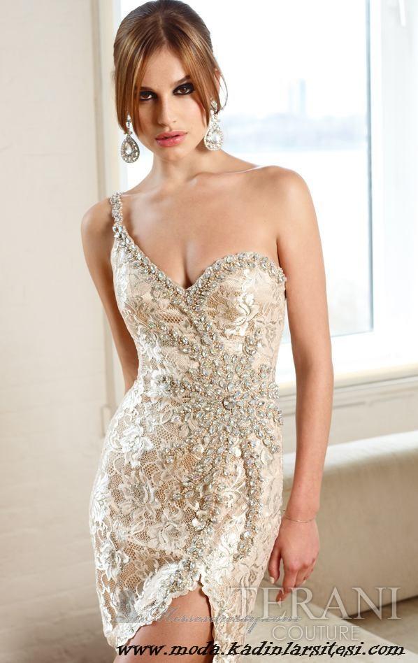 krem tek omuz gece elbisesi modeli