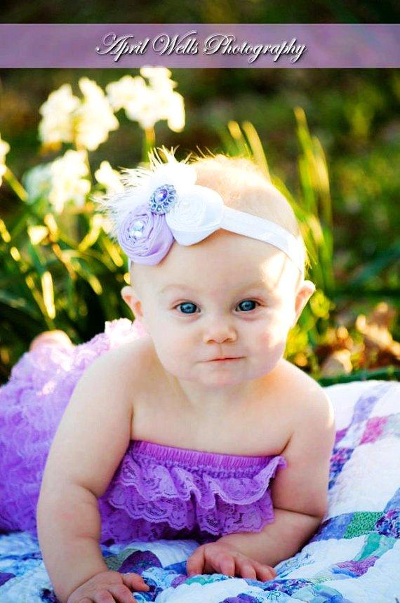 lila beyaz çiçekli saç bandı