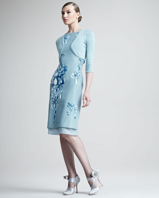 mavi bolerolu elbise modeli