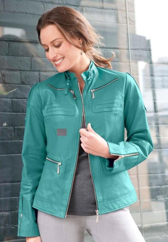 mavi deri ceket modeli