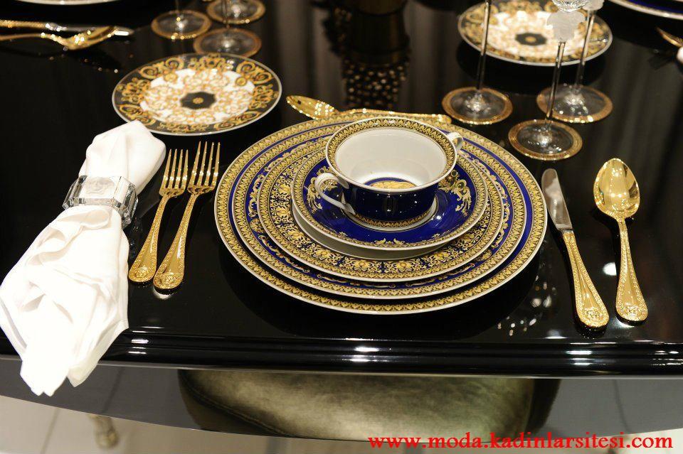 mavi dore tabak dekorasyon modeli