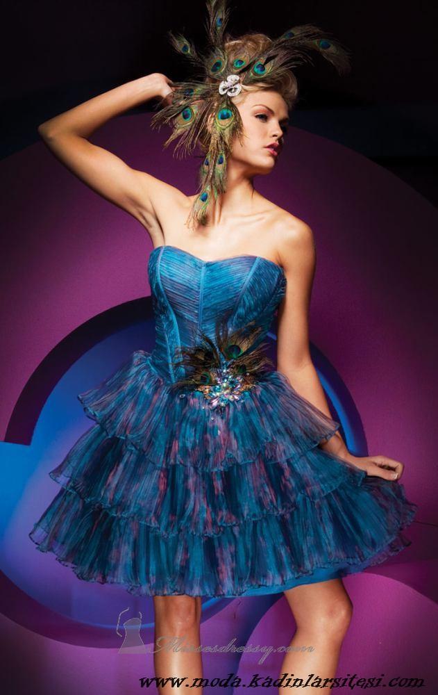 mavi havalı gece elbisesi modeli