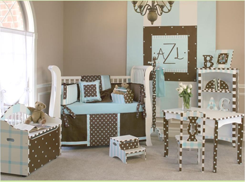 mavi kahve bebek odası modeli