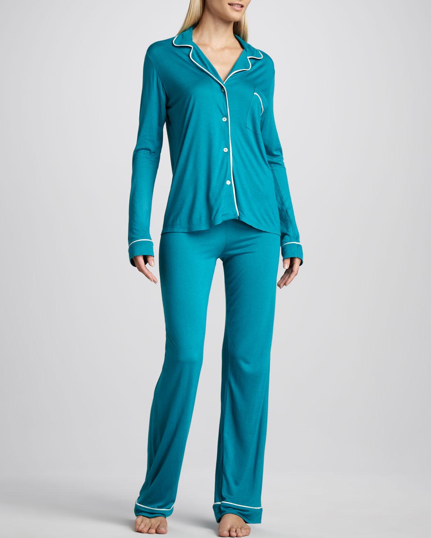 mavi penye pijama takımı