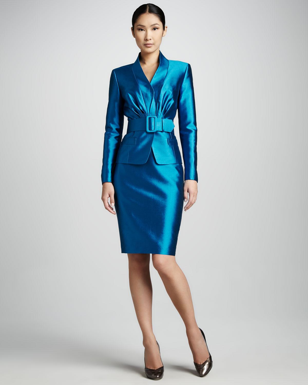 mavi saten tasarım etek ceket moeli