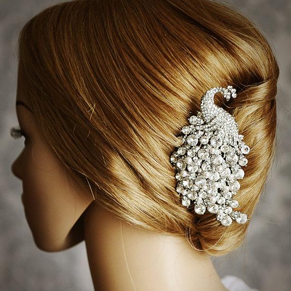 metal tavuskuşu figürlü saç toka modeli