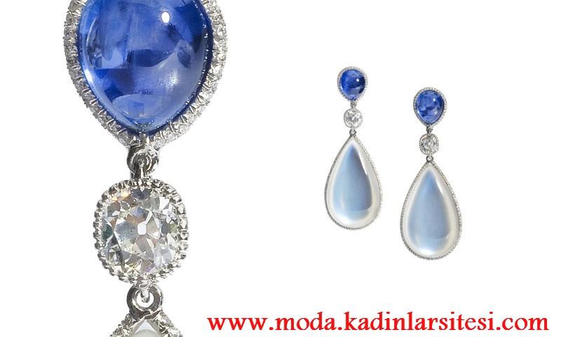 moonstone & sapphire pırlanta küpe modeli