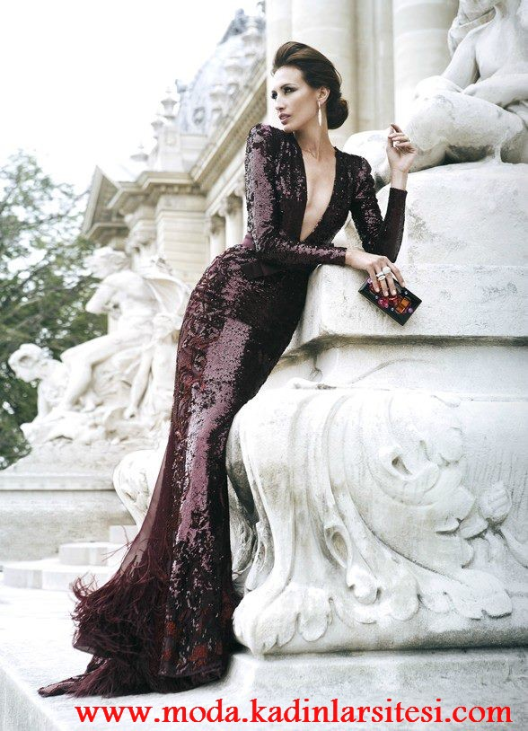 payetli gece elbisesi modeli
