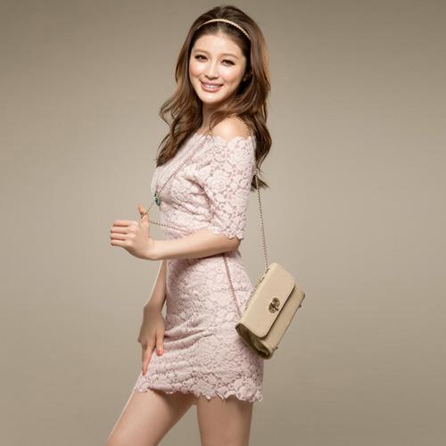 pembe dantel elbise modeli yeni