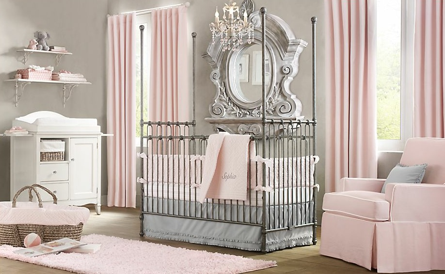 pembe gri elegan bebek odası