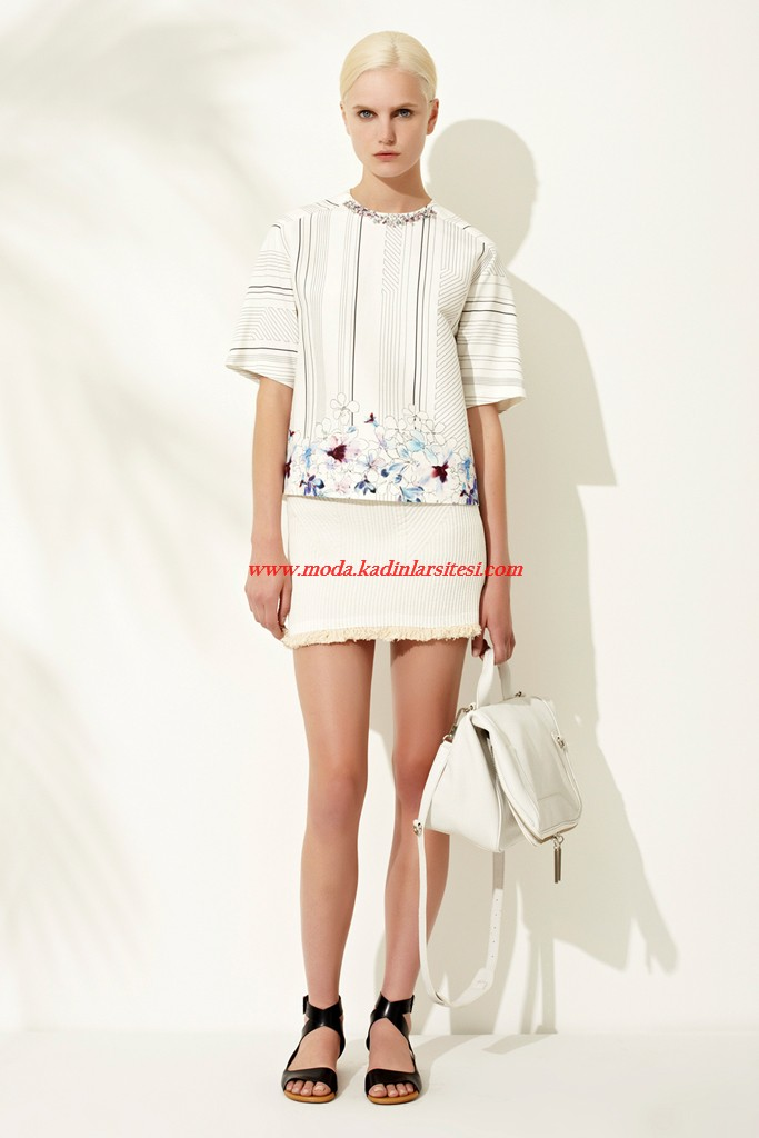 phillip lim beyaz bluz etek modeli