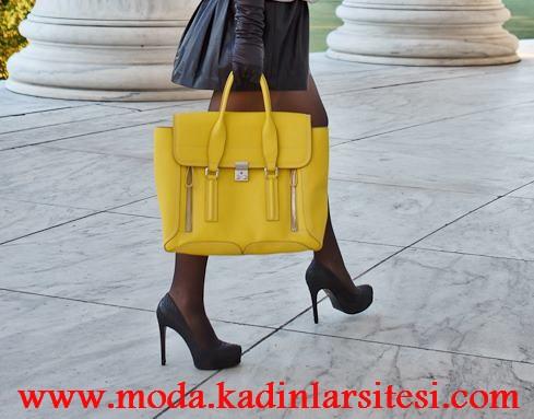 sarı deri çanta modeli