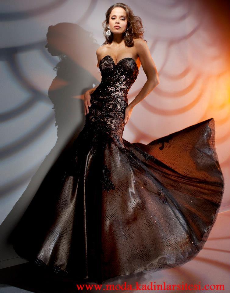 siyah balık model gece elbisesi modeli