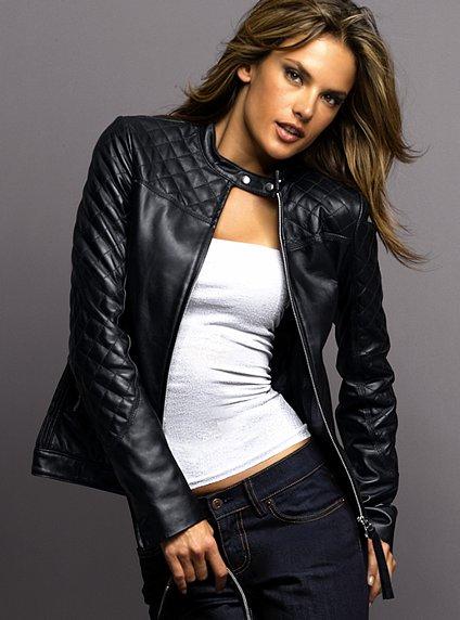 siyah bayan deri ceket modeli