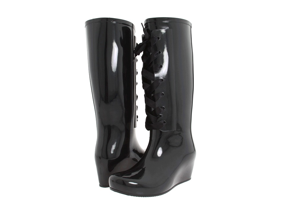 siyah gizli topuk yağmurluk çizme modeli