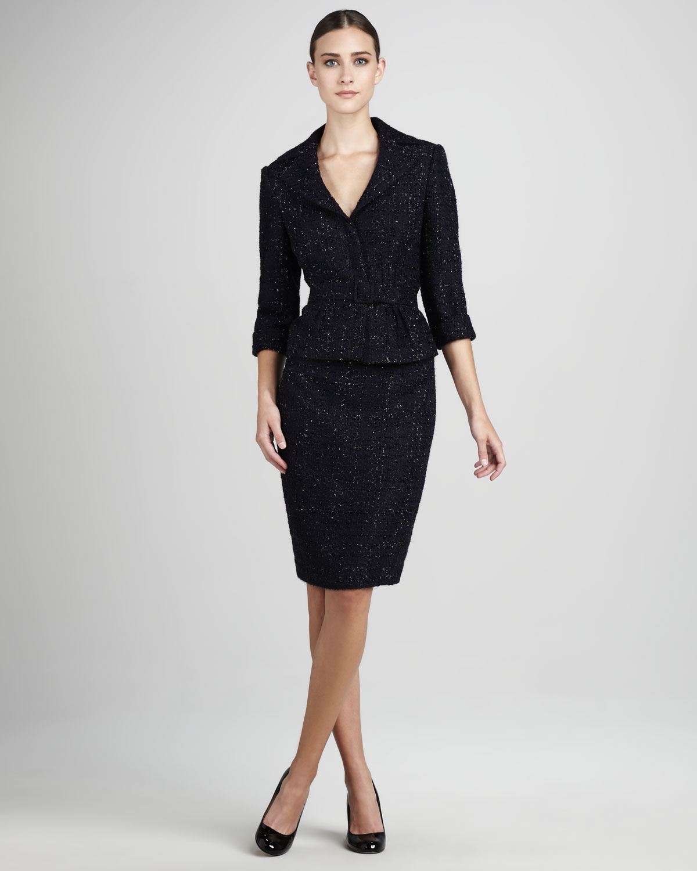 siyah kırçıllı etek ceket modeli