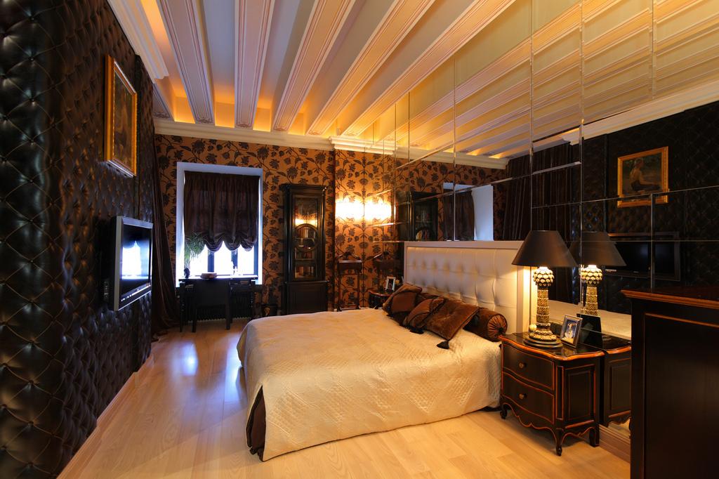 siyah krem yatak odası modeli