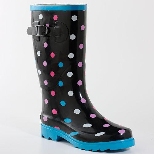 siyah puantiyeli yağmurluk çizme modeli