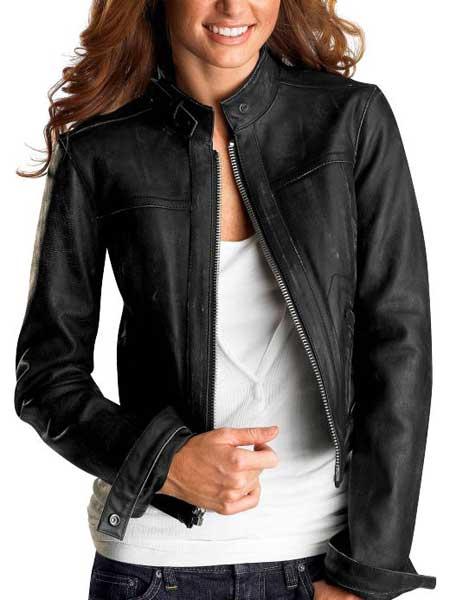 siyah sade deri ceket modeli