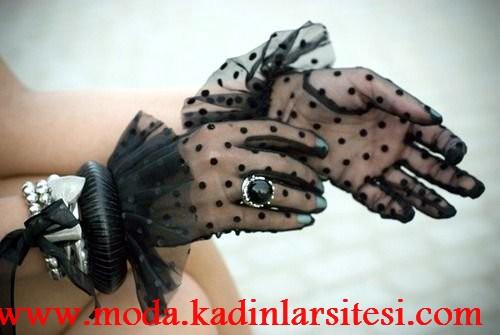 siyah tül eldiven modeli