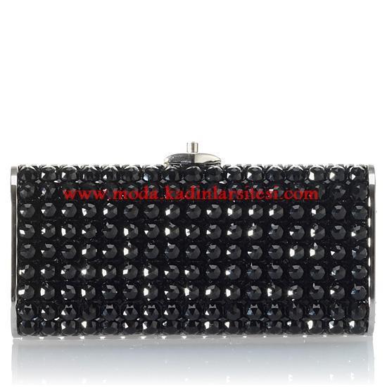 siyah taşlı gece çantası modeli