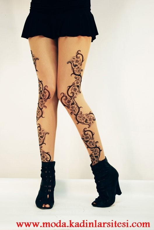 tatoo figürlü ten regi tayt modeli