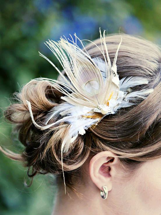 tavus kuşu tüyü saç tokası modeli