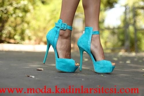 turkuaz bantlı ayakkabı modeli