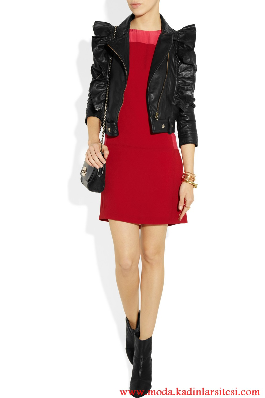 valentino deri ceket ve elbise modeli
