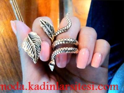 yılanlı ve yapraklı yüzük modeli