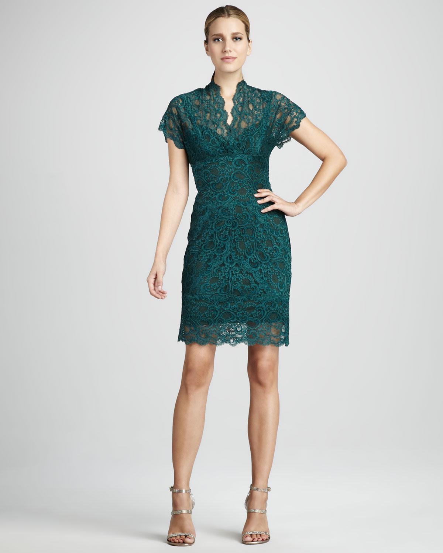 yeşil dantelli elbise modeli