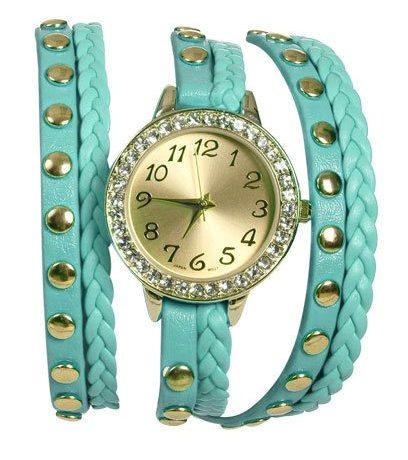 yeşil deri zımbalı saat modeli