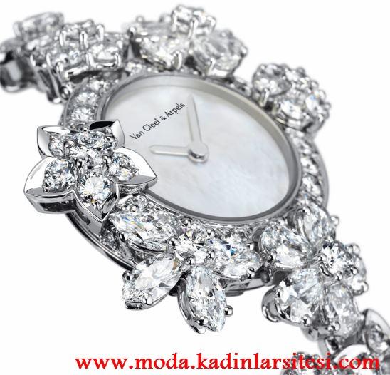 çiçekli taşlı saat modeli