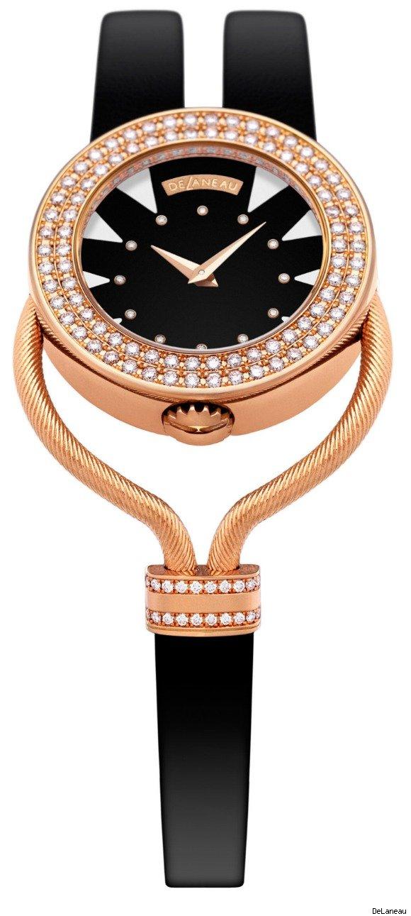 Pembe altın künye saat modeli
