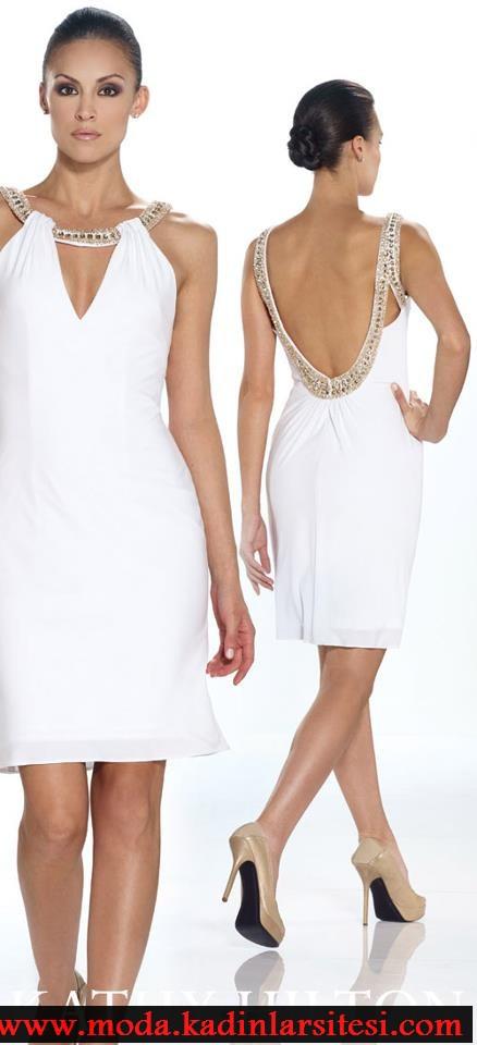 beya dekolteli elbise modeli