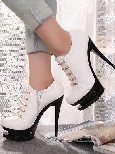beyaz fermuarlı topuklu bayan kısa bot modelleri