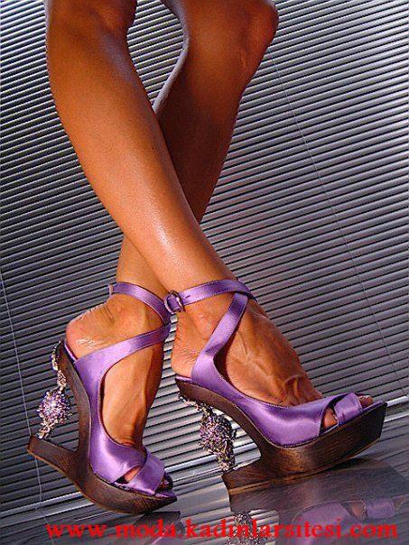 eflatun farklı topuk ayakkabı modeli