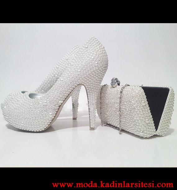 inci detaylı ayakkabı çanta modeli