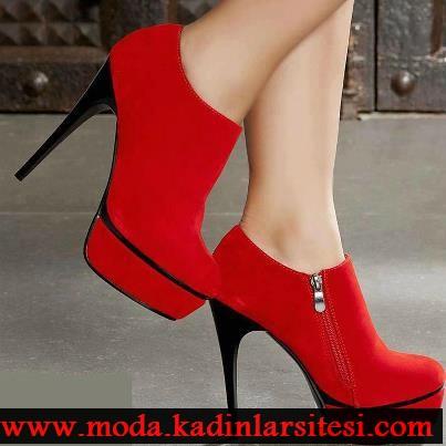 kırmızı fermuarlı bot modeli