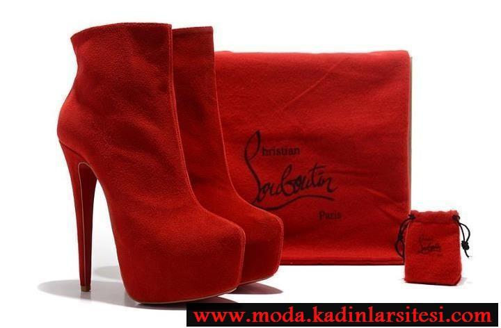 kırmızı nubuk ayakkabı çanta modeli