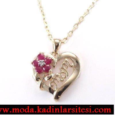 kalpli çiçekli kolye ucu modeli