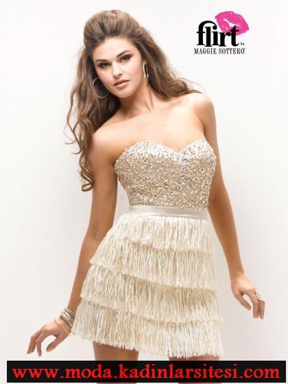 krem rengi mini gece elbise modeli